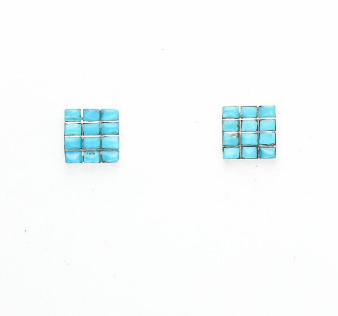 Turquoise Channel Inlay Square Button Earrings - Shumakolowa Native Arts