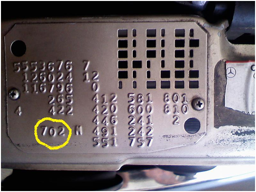 Mercedes Benz – Older models will have the paint code under the hood.