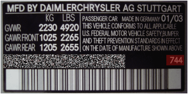 Newer models will have the paint code in the driver's door jamb. Will start with a C_ _ _