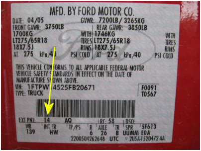 Ford – In the driver's door jamb