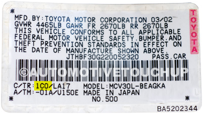 Toyota – Always in the driver's door jamb. 1st three numbers and letters before the slash.