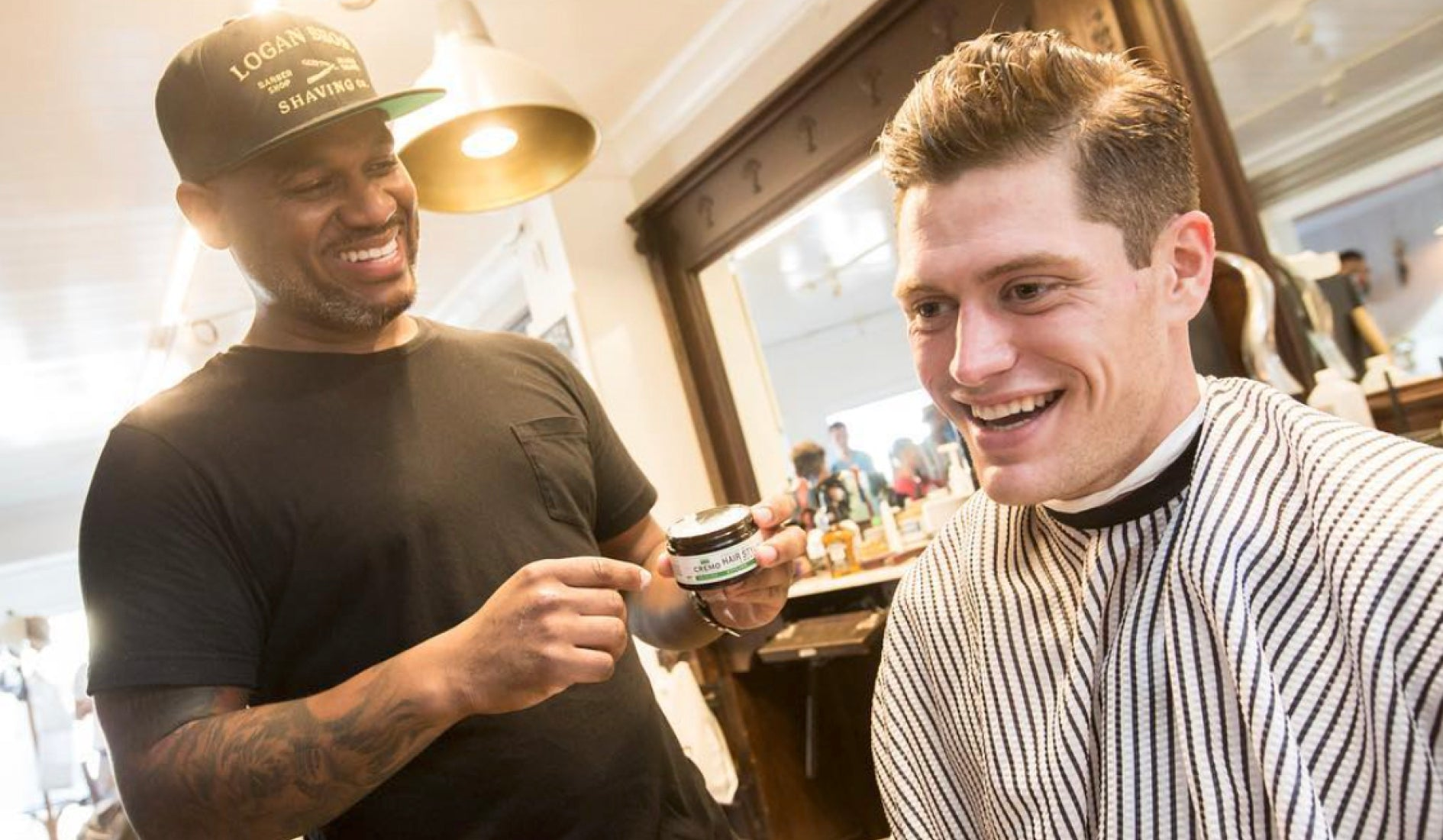 barber with client talking