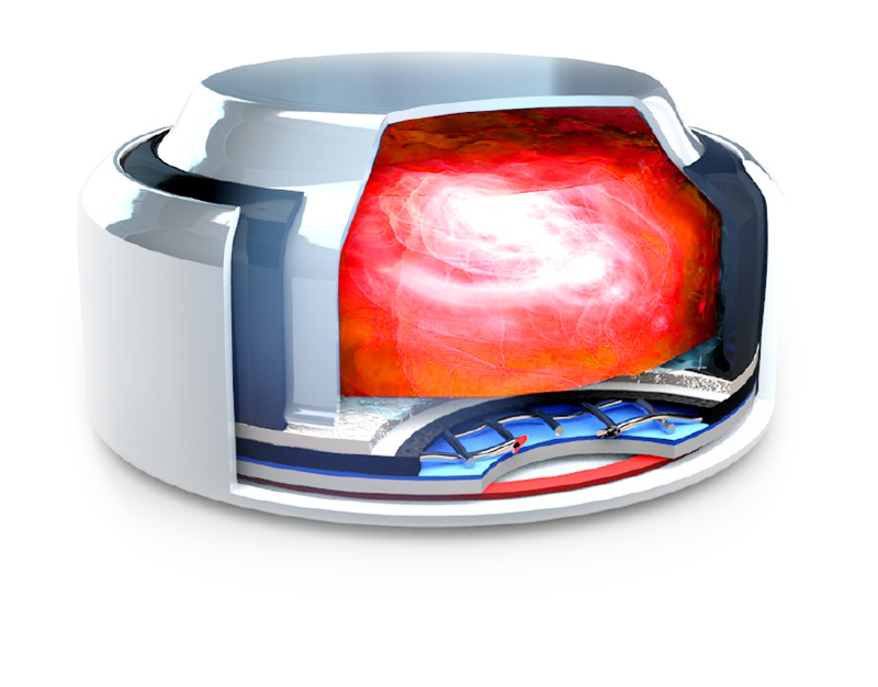 The inside of a Rayovac Hearing Aid Battery showing how the how the hearing aid battery is constructed. The inner portion is glowing red to symbolise Active Core Plus Technology