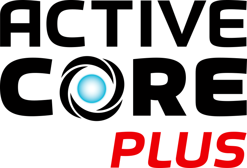 The Rayovac Active Core Plus logo with the words 'Active Core' in black and the word 'plus' in red. The centre of the O is a glowing blue orb.