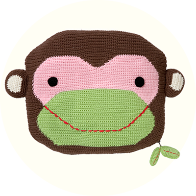 Franck & Fischer Robbie pink/brown monkey cushion