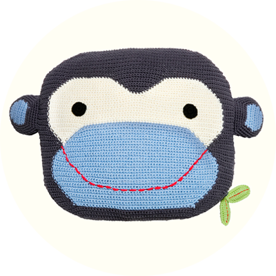 Franck & Fischer Robbie grey/blue monkey cushion
