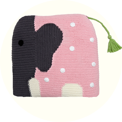 Franck & Fischer Wilfred pink/grey elephant cushion
