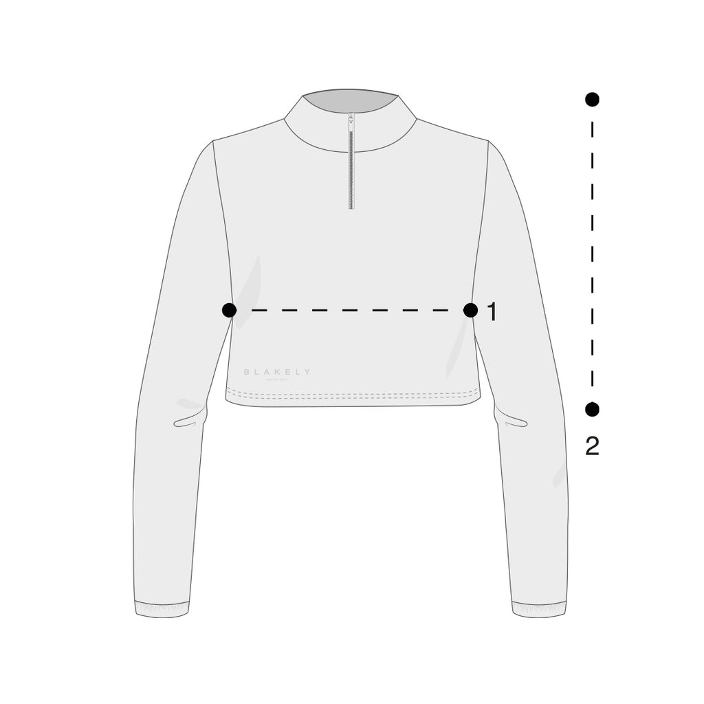 Womens 1/4 Zip Tops Size Guide