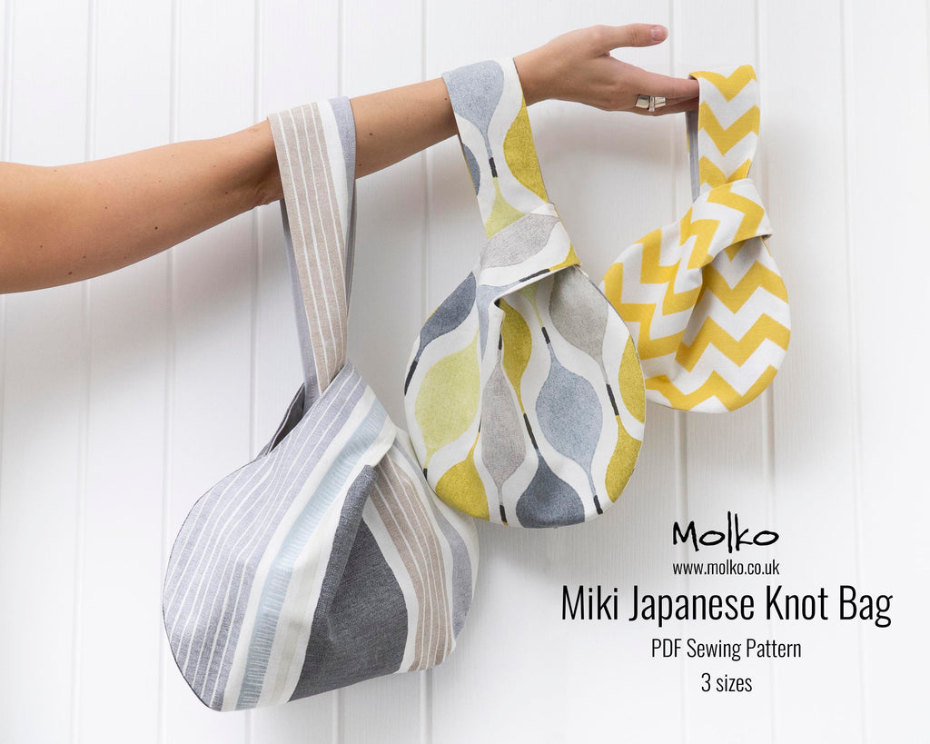 The Miki japanese knot bag pouch sewing pattern sewing tutorial