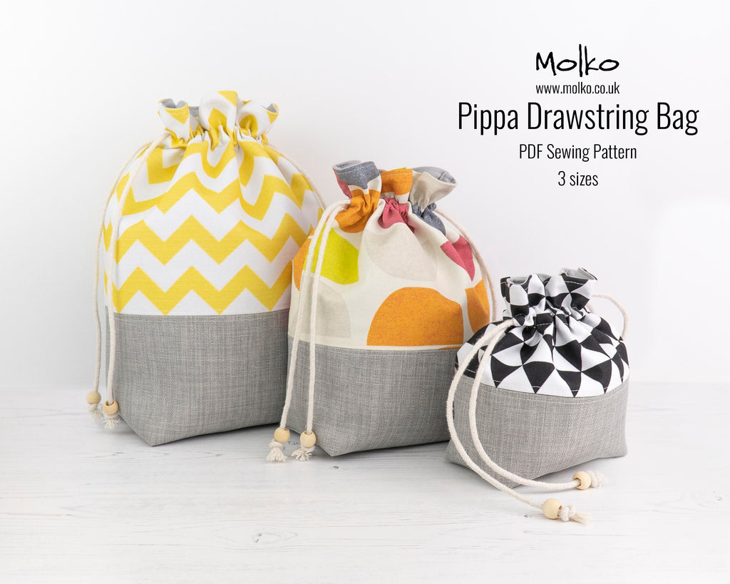 The Pippa drawstring bag pouch sewing pattern sewing tutorial