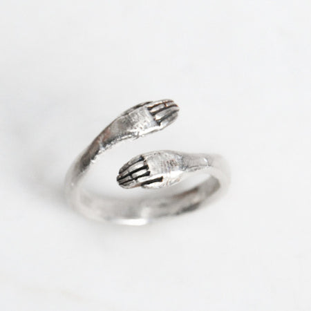 Protective hand ring - silver