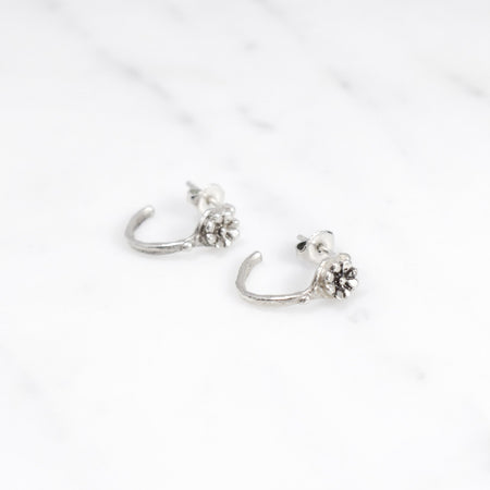 Aster crown hoops - silver