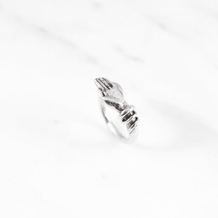 Bound hand ring - silver