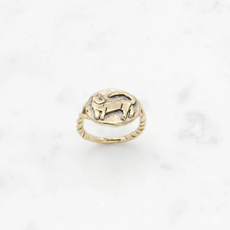 Cat Cameo ring - brass