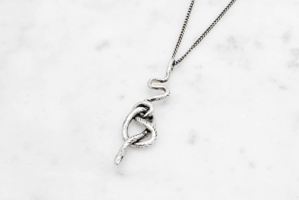 Snake Knot necklace - silver