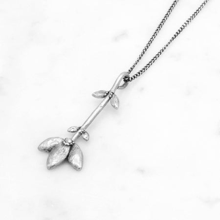 Flower Stem necklace - silver
