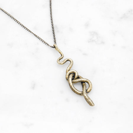 Snake Knot necklace - brass on silver