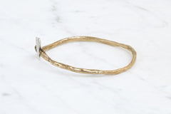 Hand & heart bangle - brass and silver