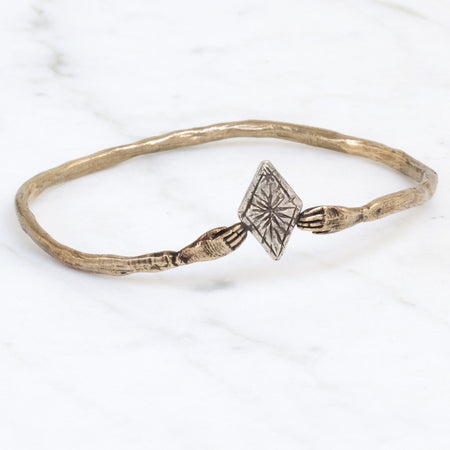 Hand & diamond bangle - brass and silver