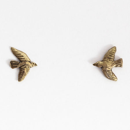 Tiny bird studs - brass