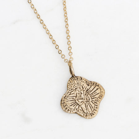 Saint Jude ornate medallion necklace - brass
