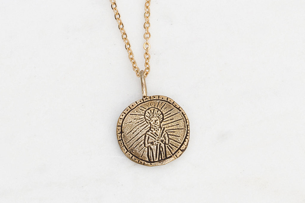 Saint Jude medallion necklace - brass