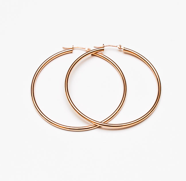 14k Rose Gold Hoop Earrings - 2in, 50mm