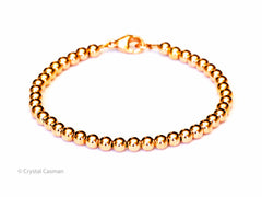 14k Rose Gold Bead Bracelet - Women and Mens Bracelet - 6mm