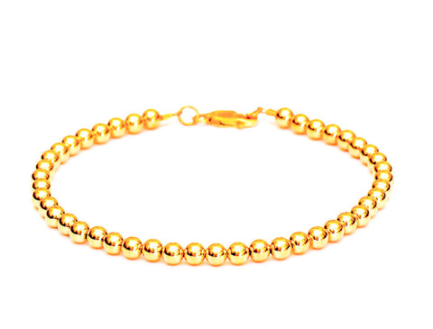 Heavy 14k Gold Ball Bead Bracelet - Women's and Men's Bracelet - 5mm
