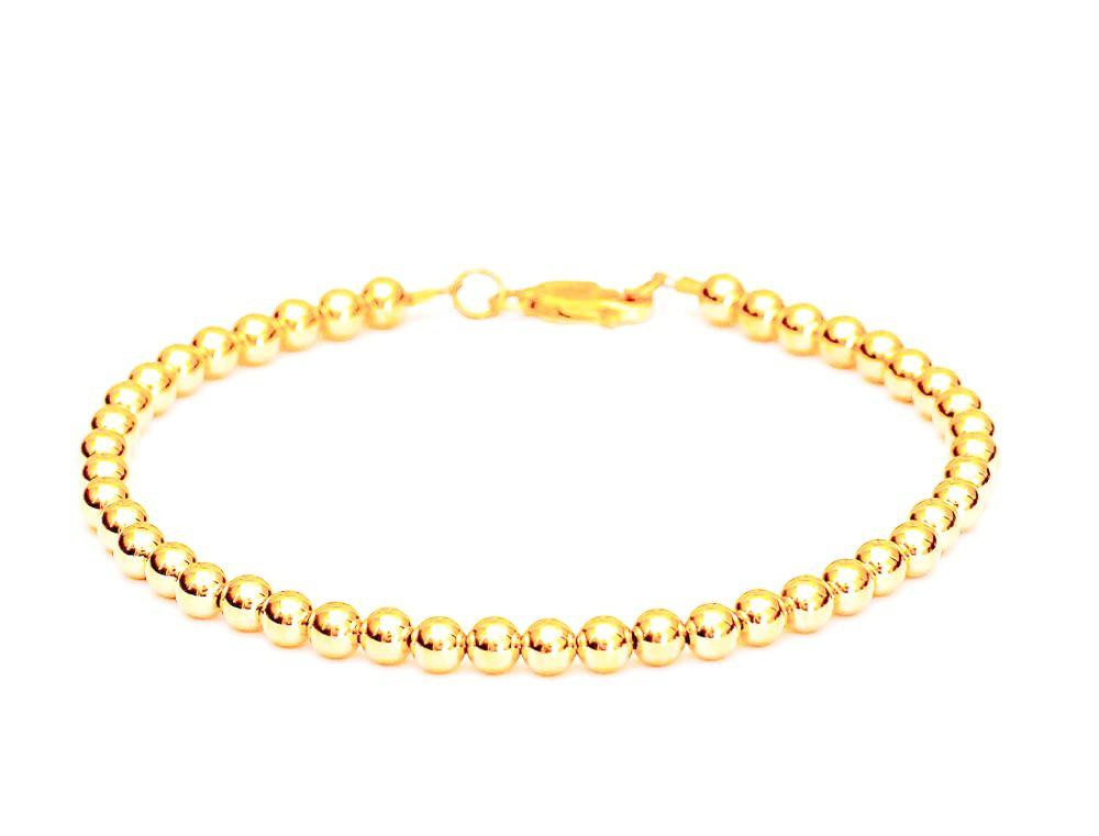 18k Gold Bead Bracelet - Women's and Men's Bracelet - 4mm