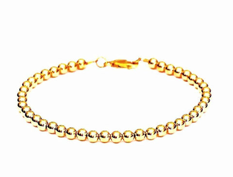 14k Gold Ball Bead Bracelet or Necklace - For Men and Women - 4mm