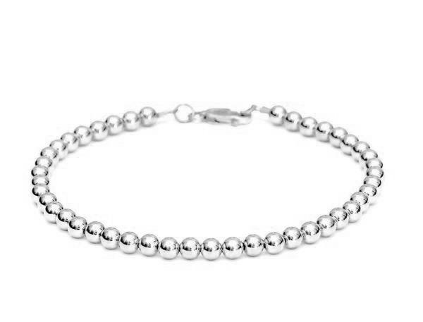 Heavy 14k White Gold Bead Bracelet - Women's and Men's Bracelet - 5mm, 8.5g