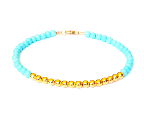 Turquoise Bracelet 14k Gold - Women and Men's Bracelet