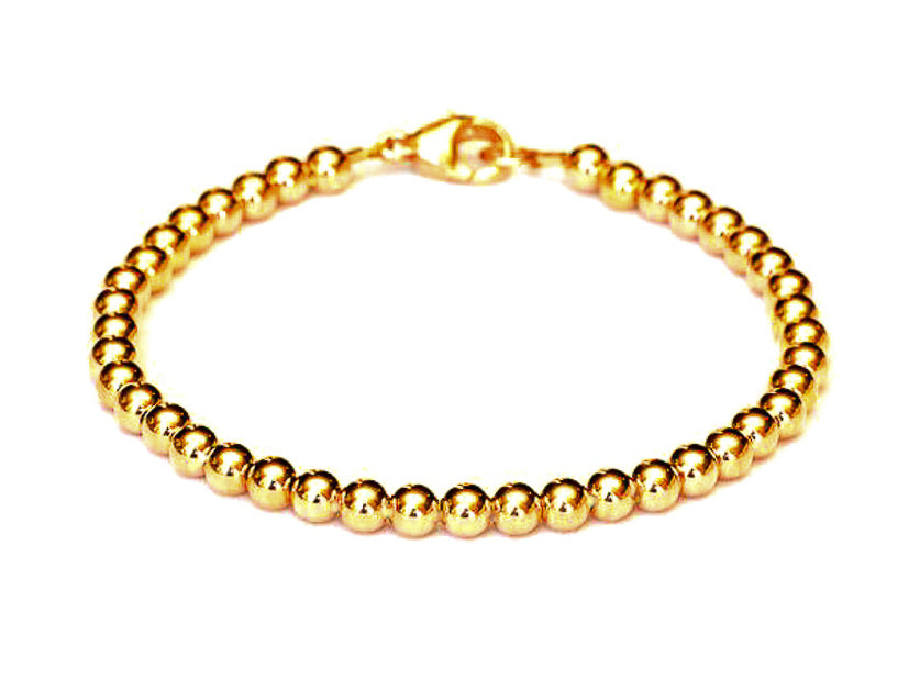 Heavy 14k Gold Ball Bead Bracelet - Women's and Men's Bracelet - 4mm, 7g