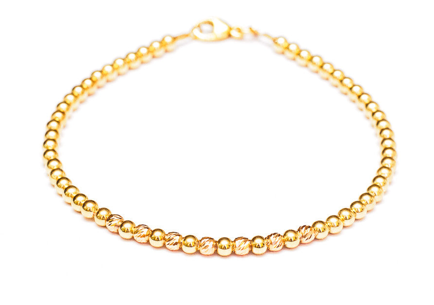 14k Gold Bead Bracelet with Rose Gold Faceted Beads 3mm Crystal