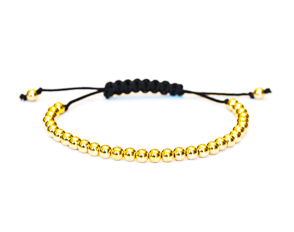 14k Gold Bead Bracelet with Black Cord-4mm