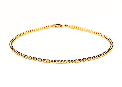 14k Gold Bead Bracelet - Women and Men's Bracelet - 2mm