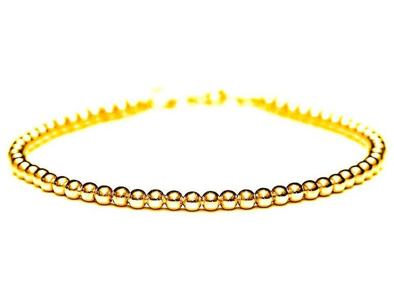 14k Gold Bead Bracelet - Men and Women's Bracelet - 3mm