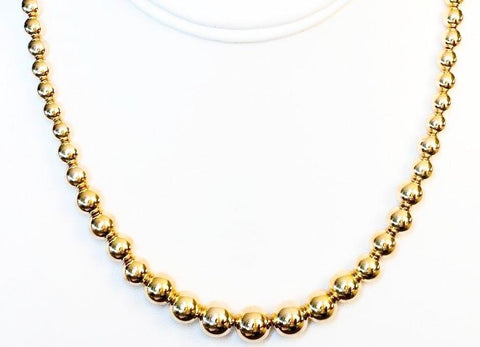 Graduated 14k Gold Bead Necklace in Yellow, Rose, or White Gold