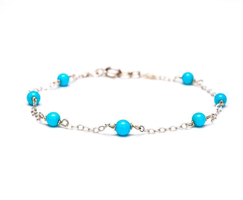 Turquoise Chain Bracelet in 14k White Gold