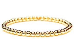 18k gold ball bead stretch bracelet, quality guaranteed. Durable hard-wall beads. Stacking and layering bracelets. 3mm, 4mm, 5mm, 6mm by Crystal Casman