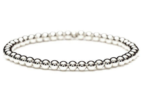 18k white gold ball bead stretch bracelet, quality guaranteed. Durable hard-wall beads. Stacking and layering bracelets. 3mm, 4mm, 5mm, 6mm by Crystal Casman