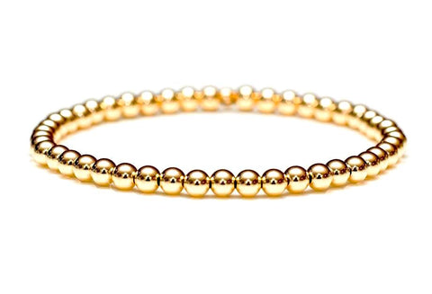 14k Gold Ball Bead Stretch Bracelets, 4mm, Men and Women's Bracelets
