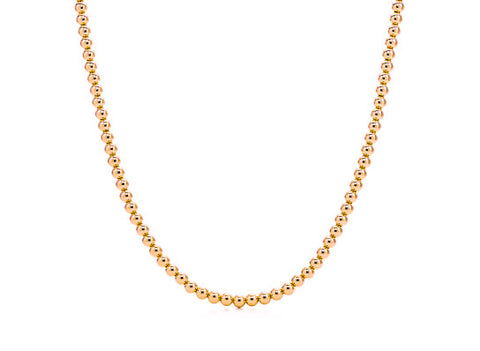 14k Rose Gold Bead Necklace - 5mm