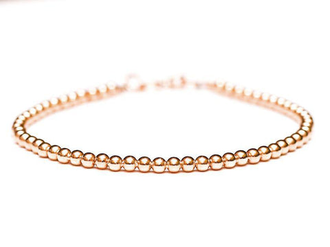 18k Rose Gold Bead Bracelet - Women and Mens Bracelet - 3mm