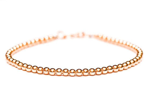 14k Rose Gold Bead Bracelet - Women's and Mens Bracelet - 3mm