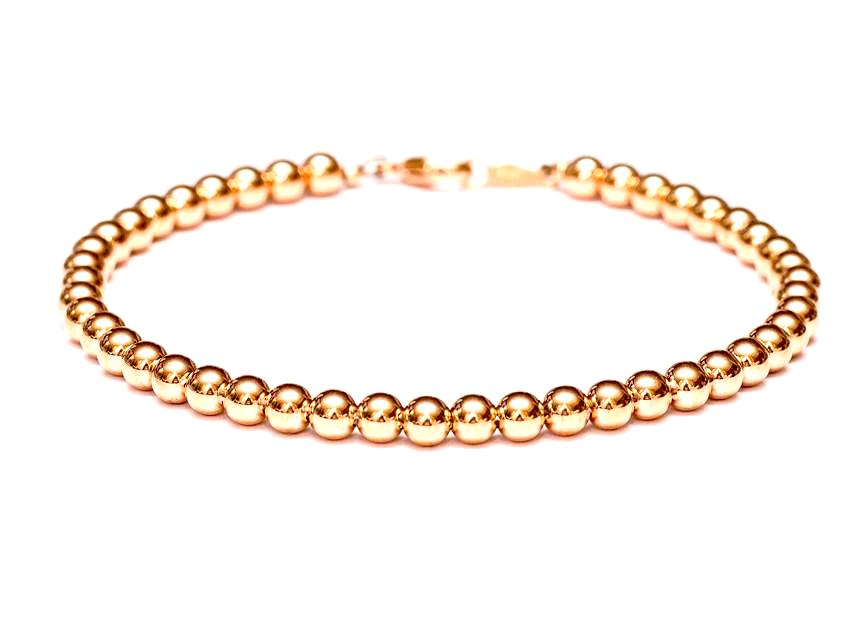 14k Rose Gold Bead Bracelet - Women and Mens Bracelet - 4mm