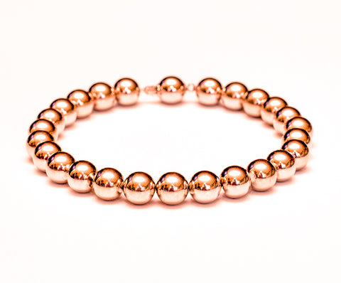 14k Rose Gold Bead Bracelet - 8mm - Women and Men's Bracelet