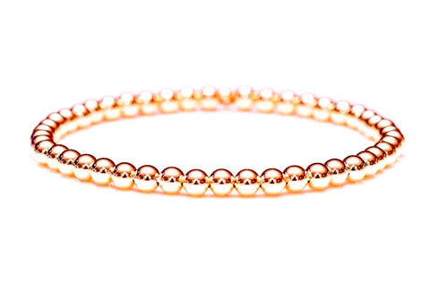 14k Rose Gold Ball Bead Stretch Bracelets, 3mm - 6mm.  Men and Women's Bracelet.