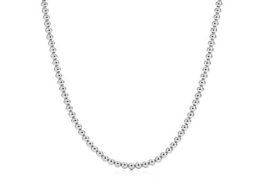 14k White Gold Bead Necklace - 5mm